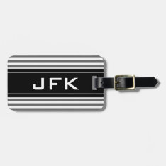 Masculine Monogram Travel Luggage Tag With Stripes at Zazzle