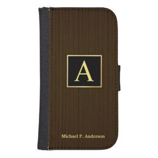 Masculine Monogram Wood Galaxy S4 Wallet Case