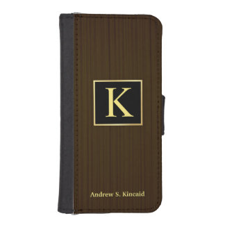 Masculine Monogram Wood iPhone5 Wallet Case Phone Wallet