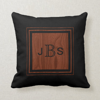 Masculine Monogram | Woodgrain Mahogany Look Black Throw Pillow