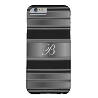 Masculine Monogrammed Black Metallic Steel Look Barely There iPhone 6 Case