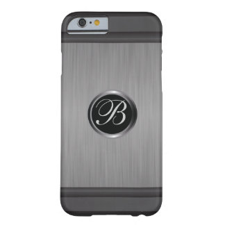 Masculine Monogrammed Black Steel Barely There iPhone 6 Case