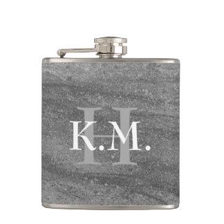 Masculine Monogrammed Dark Gray Granite Flask