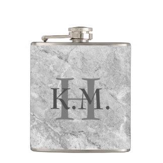 Masculine Monogrammed Gray Granite Flask