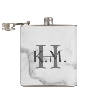Masculine Monogrammed Marble Flask