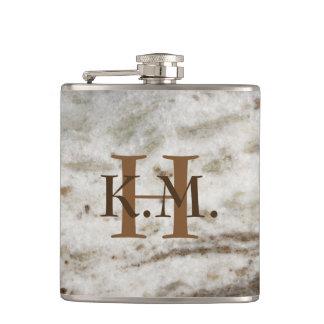 Masculine Monogrammed Pearl Granite Flask