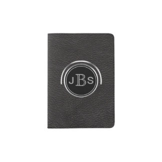 Masculine Monogrammed | Silver Black Leather Look Passport Holder