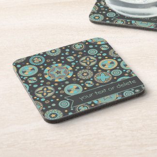 masculine mustard Starry Circles with banner Drink Coaster