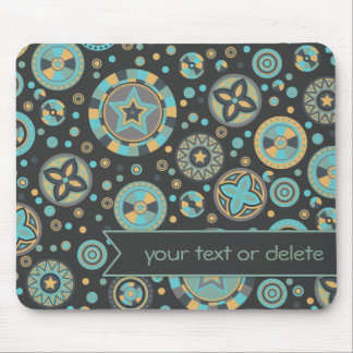 masculine mustard Starry Circles with banner Mouse Pad