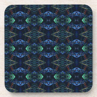 Masculine Neon Green Navy Kaleidoscope Patterns Beverage Coaster