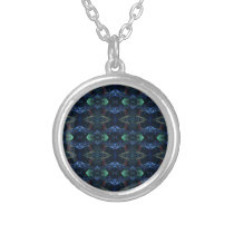 Masculine Neon Green Navy Kaleidoscope Patterns Silver Plated Necklace