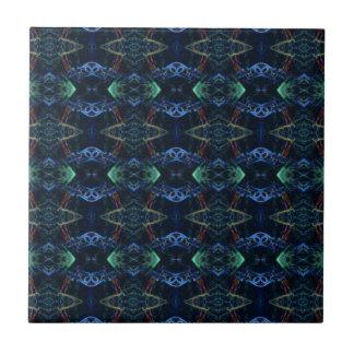 Masculine Neon Green Navy Kaleidoscope Patterns Tile