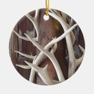 Masculine Outdoorsy Intertwined Antlers Ceramic Ornament