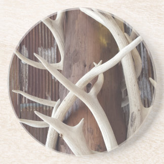 Masculine Outdoorsy Intertwined Antlers Drink Coaster
