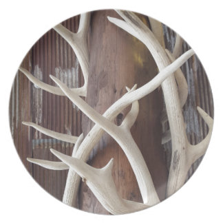 Masculine Outdoorsy Intertwined Antlers Melamine Plate