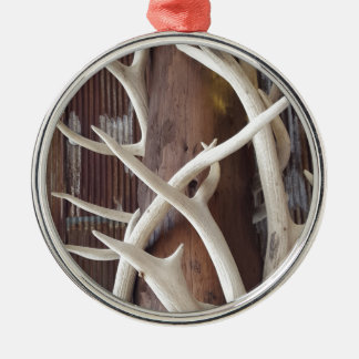 Masculine Outdoorsy Intertwined Antlers Metal Ornament