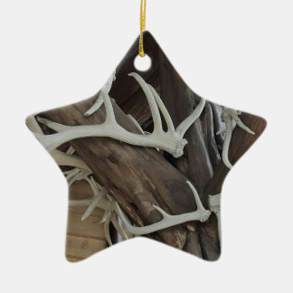 Masculine Photo Antlers Wrapped poles Ceramic Ornament