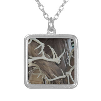 Masculine Photo Antlers Wrapped poles Silver Plated Necklace
