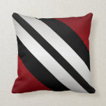 Masculine  Red Black Gray Stripes Design Pillow