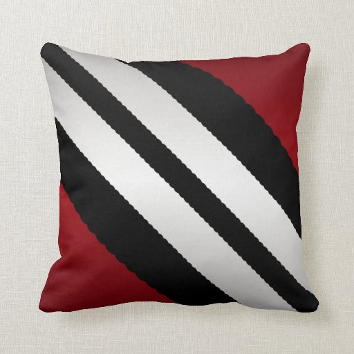 Striped Throw Pillows Masculine Red Black Gray Stripes