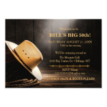 Masculine Rustic Cowboy Hat Rope Wood  Western Card