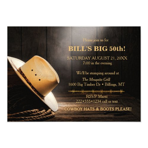 Masculine Rustic Cowboy Hat Rope Wood  Western Invitation