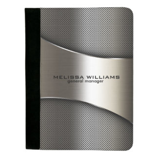 Masculine Silver Gray Metallic Geometric Design Padfolio