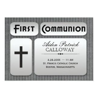 Masculine Silver Gray Pinstripes First Communion 5x7 Paper Invitation Card