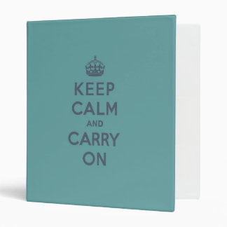 Masculine Teal Keep Calm and Carry On Vinyl Binder