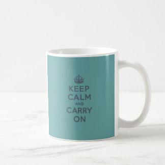 Masculine Teal Keep Calm and Carry On Mug
