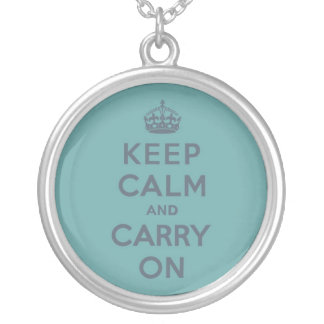 Masculine Teal Keep Calm and Carry On Round Pendant Necklace
