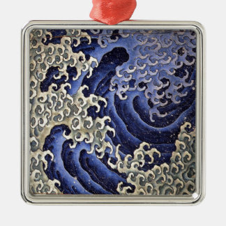Masculine Wave by Katsushika Hokusai Metal Ornament