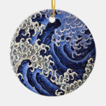 Masculine Wave, Hokusai Double-Sided Ceramic Round Christmas Ornament