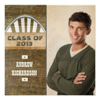 Masculine Wood Grain Look Graduation Photo Custom Invitations