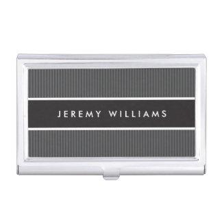 Masculino gris oscuro y negro moderno caja de tarjetas de negocios