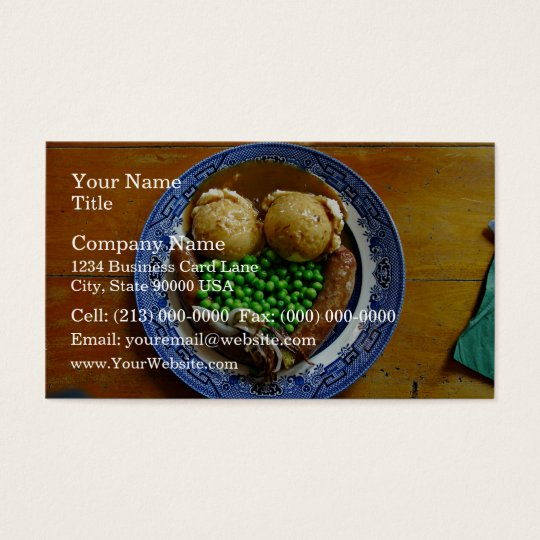 Mash on old china plate on wooden table business card