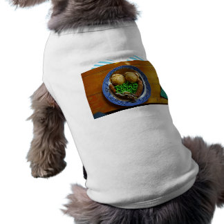 Mash on old china plate on wooden table dog clothing