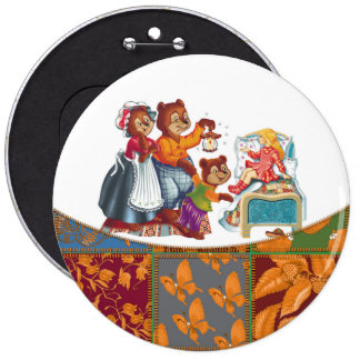Masha and 3 bears pinback button