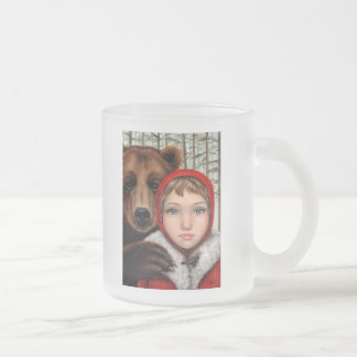 Masha and the Bear Frosted Glass Coffee Mug