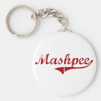 Mashpee Massachusetts Classic Design Basic Round Button Keychain