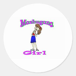 mashugana girl round sticker