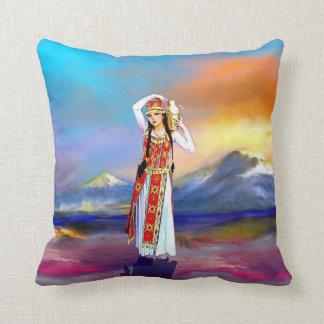 Masis Ararat lady Armenia Throw Pillow