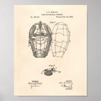 Mask Baseball Catchers 1883 Patent - Old Peper Poster