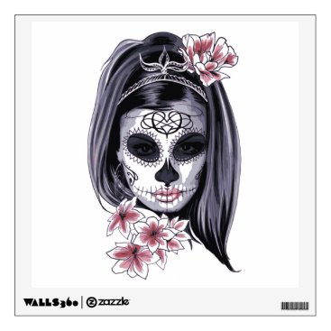 Halloween Themed Mask Carnival Day of the Dead Floral Woman Wall Decal