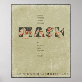 Mask concert poster distressed