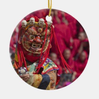 Mask dance performance at Tshechu Festival 3 Double-Sided Ceramic Round Christmas Ornament