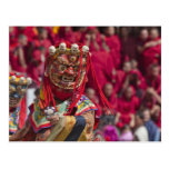 Mask dance performance at Tshechu Festival 3 Postcard