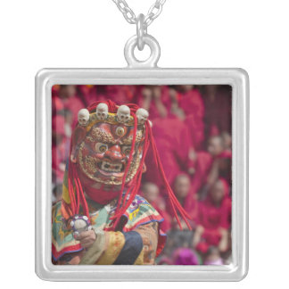 Mask dance performance at Tshechu Festival 3 Silver Plated Necklace