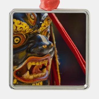 Mask dance performance at Tshechu Festival Square Metal Christmas Ornament