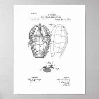 Mask For Baseball Catchers Patent Poster